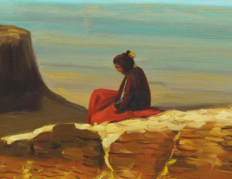 View From the Mesa Verde New Mexico - Blue Figurative Painting by R. David