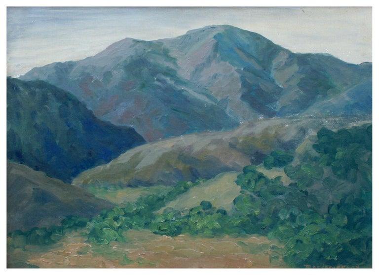 Mid Century California Monterey Hillside Landscape - Painting by Mae Jorgensen