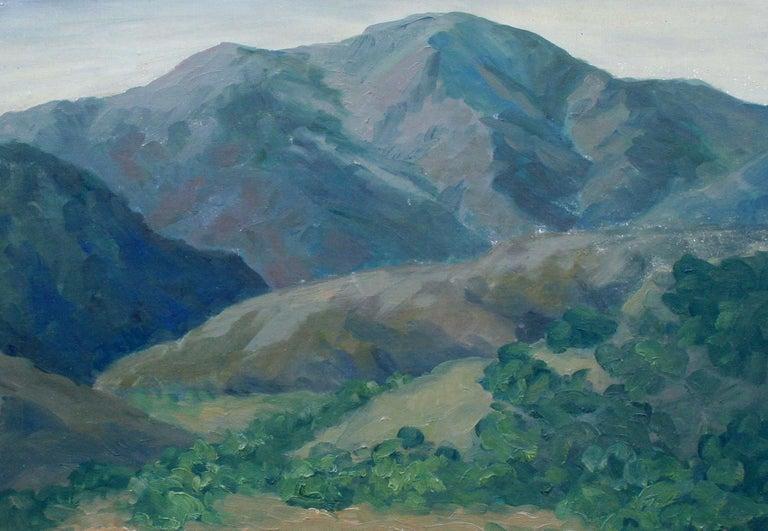 Mid Century California Monterey Hillside Landscape - American Impressionist Painting by Mae Jorgensen