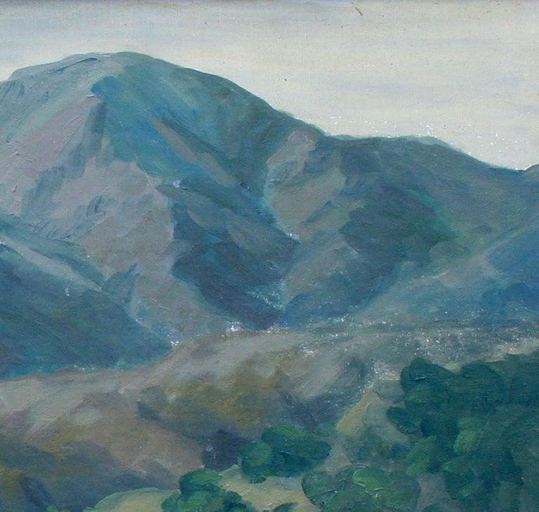 Elegant mid century landscape of the mountains near Pebble Beach, California by California artist Mae Jorgensen (American, 1886-1972). Circa 1950. Signed