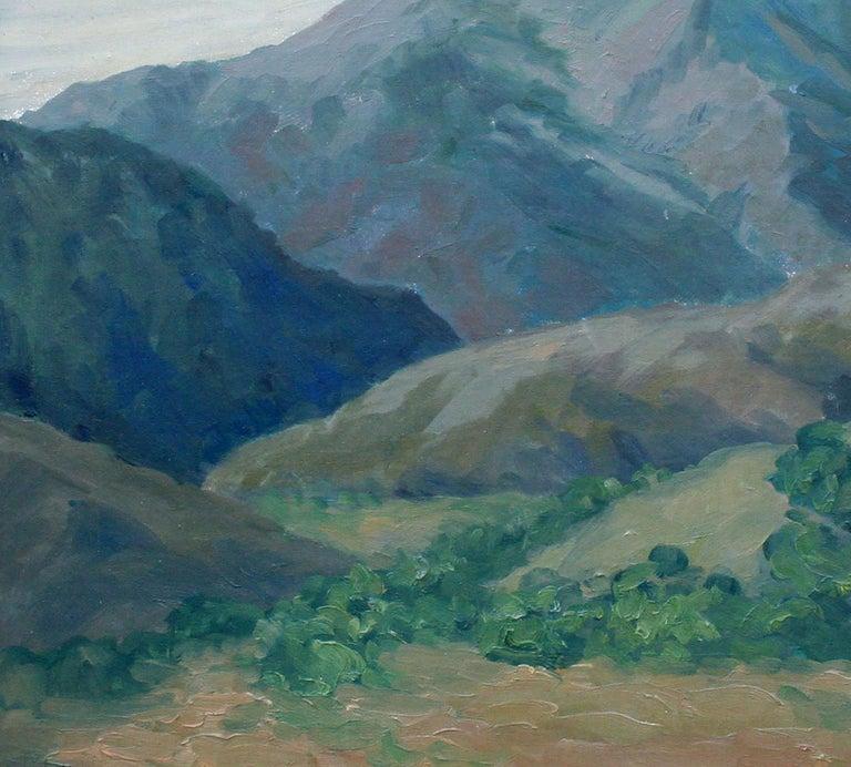 Mid Century California Monterey Hillside Landscape - Gray Landscape Painting by Mae Jorgensen