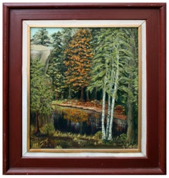 Birch Trees on the Water Mid Century Landscape
