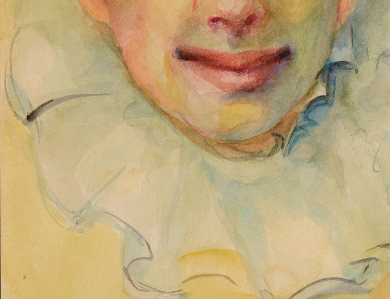 Watercolor portrait of a clown on heavy paper by Marjorie Blake (American, 1920-1994). Signed