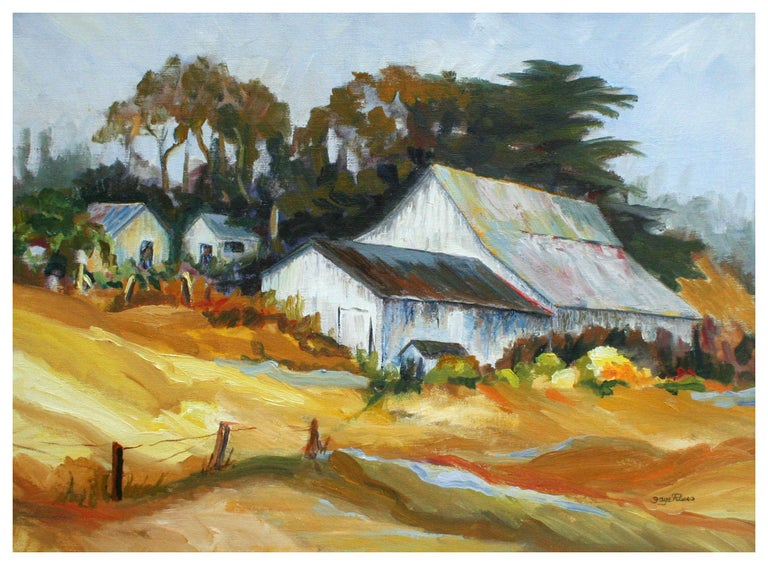 California Barn Landscape  - Painting by Faye Russo