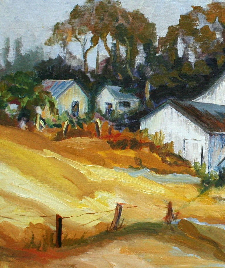 California Barn Landscape  - Brown Landscape Painting by Faye Russo
