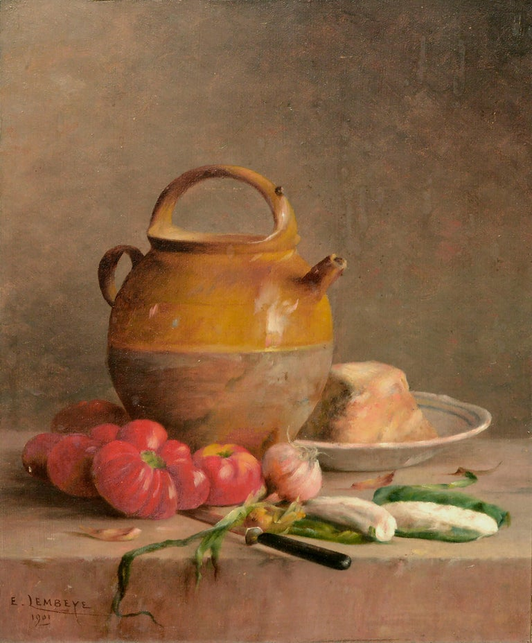 Turn of the Century French Provincial Still Life  - Painting by Etienne Lembeye