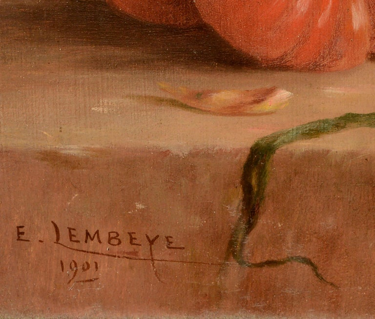 Turn of the century French provincial still-life in warm earth tones of a terracotta jug alongside tomatoes and other vegetables by Etienne Lembeye (French, c.1860-1910). Signed and dated