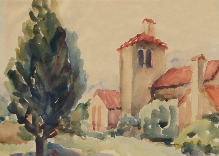 Mid-Century California Mission Landscape - Art by Unknown