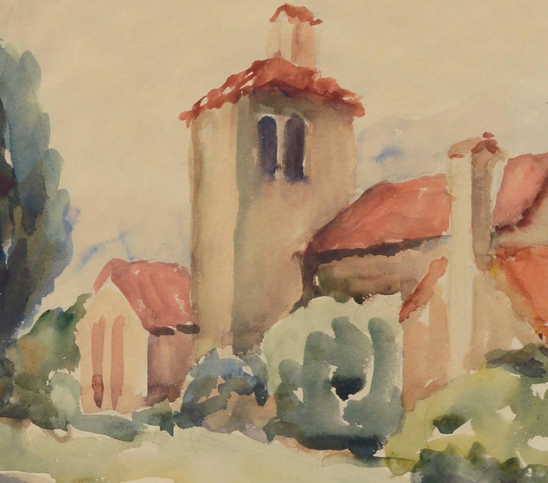 Mid-Century California Mission Landscape - American Impressionist Art by Unknown