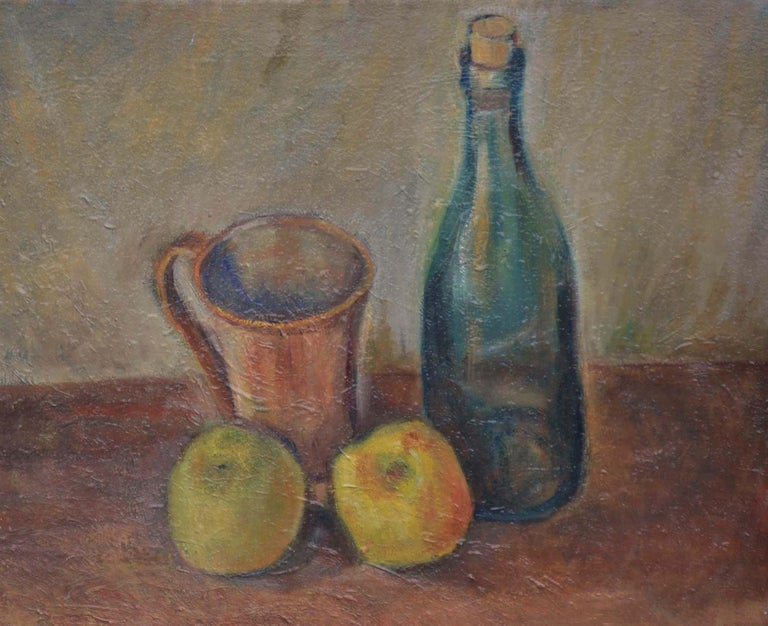 Wine Bottle with Apples Still Life  - Painting by Friedel Riise
