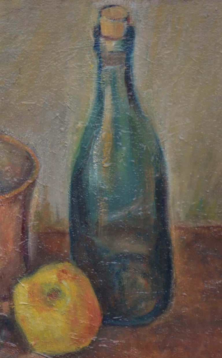 Wine Bottle with Apples Still Life  - American Impressionist Painting by Friedel Riise