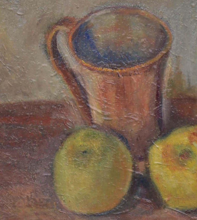 Wine Bottle with Apples Still Life  - Gray Still-Life Painting by Friedel Riise