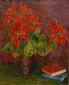 Midcentury Poinsettia Holiday Still Life Interior scene Claudia Dobbins