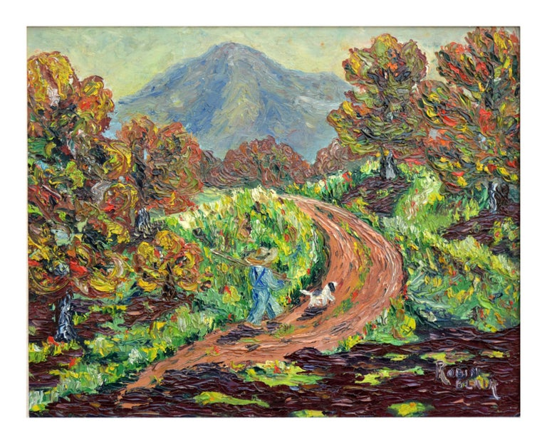Mt. Tamalpais in Autumn Impasto Landscape  - Painting by Robin Blair