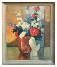 Mid Century Still Life Floral with Dove Statue Deco 1952