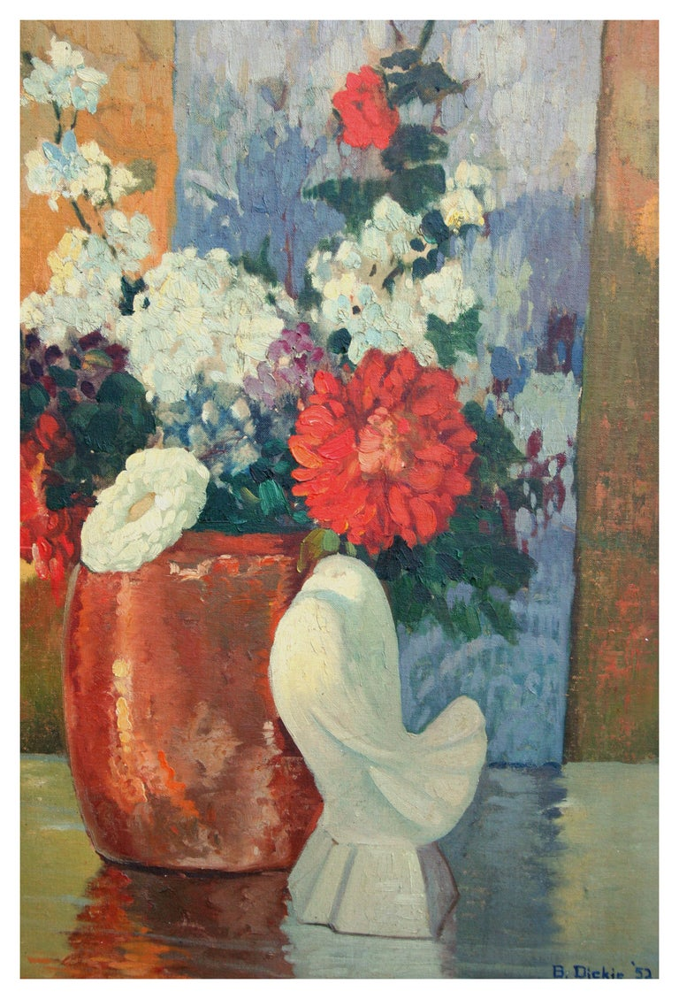 Mid Century Still Life Floral with Dove Statue Deco 1952 - American Impressionist Painting by B. Dickey