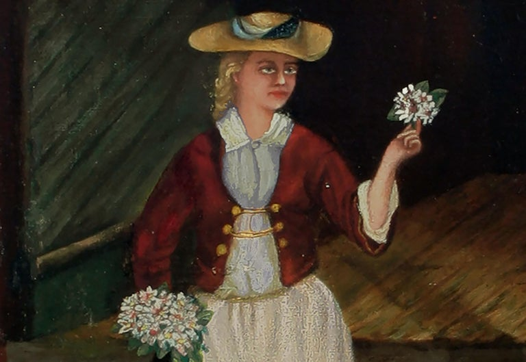 The Flower Seller - 19th Century Figurative - Black Figurative Painting by English School
