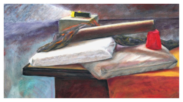 Still Life with Flashlight - Painting by James Pollock