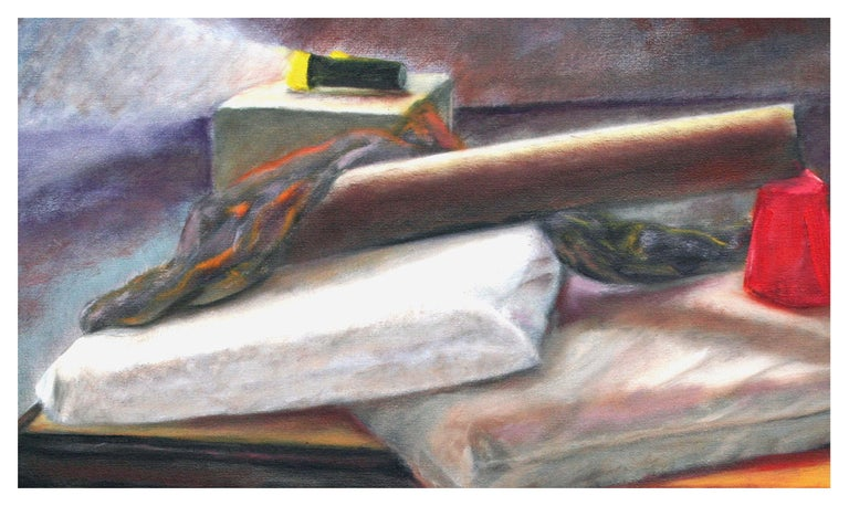 Still Life with Flashlight - American Impressionist Painting by James Pollock