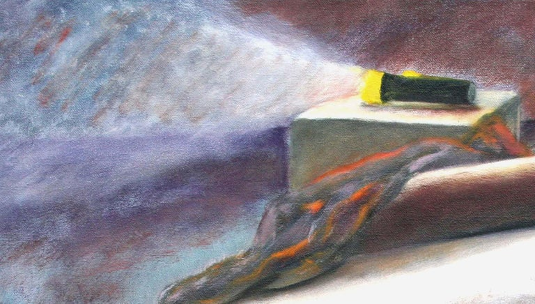 Still Life with Flashlight - Gray Interior Painting by James Pollock