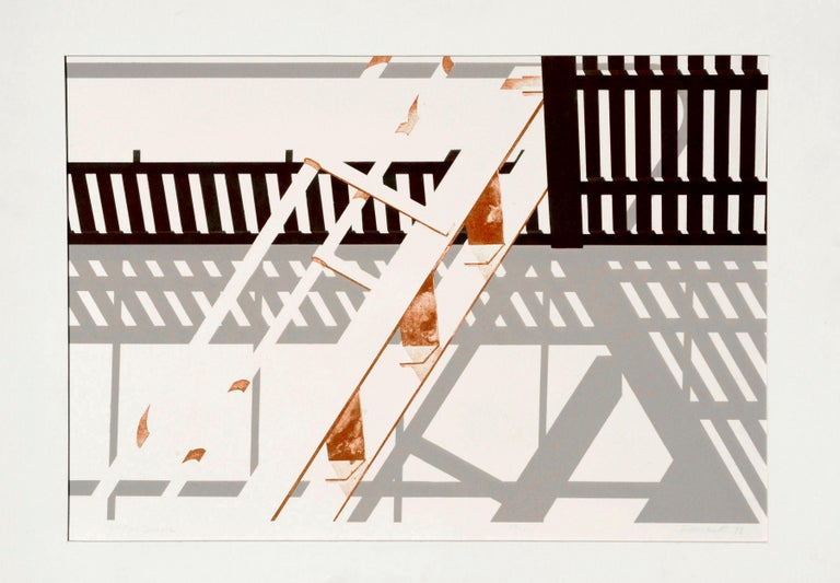 George Dombek Abstract Print - S.F. Fire Escape - Geometric Pattern Lithograph