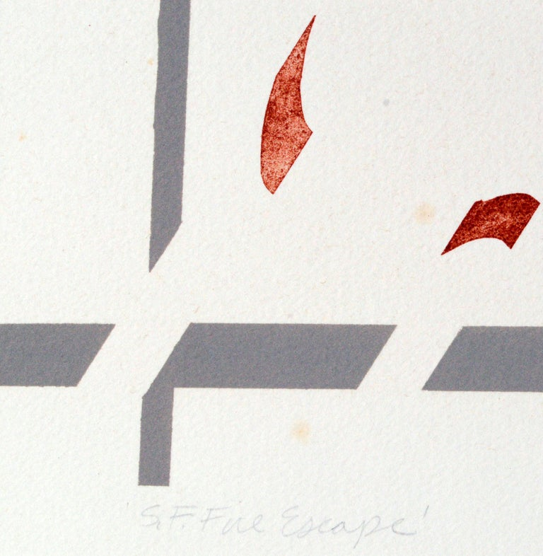 S.F. Fire Escape - Geometric Pattern Lithograph  - American Modern Print by George Dombek