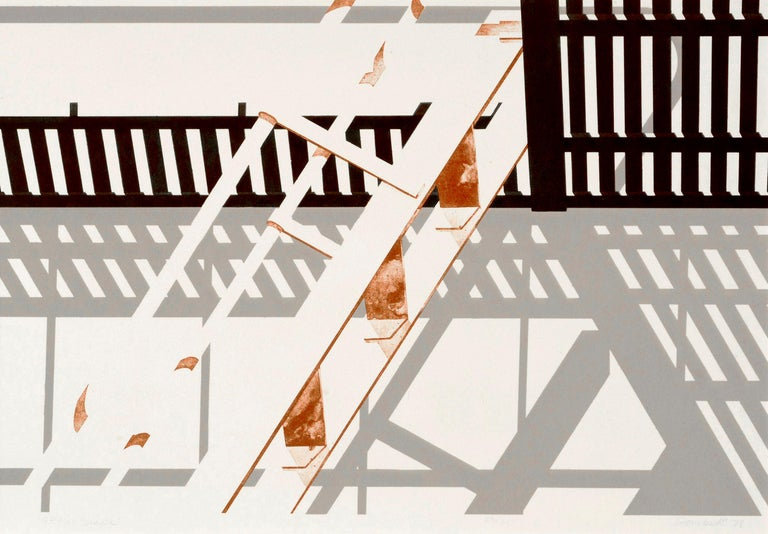 S.F. Fire Escape - Geometric Pattern Lithograph  - Print by George Dombek