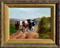 19th Century Dutch Impressionist Cows Returning home
