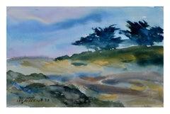 Carmel Valley Ridgetop Trees Watercolor Landscape