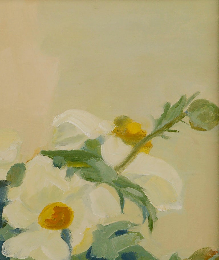 Matilija Poppies Botanical Still Life  - Brown Still-Life Painting by Josephine Guerra