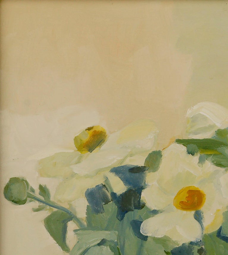 Beautiful botanical still-life of white Matilija poppies and lush green leaves with a background of soft, warm neutrals by California artist Josephine Guerra (American, 20th Century). Signed and dated