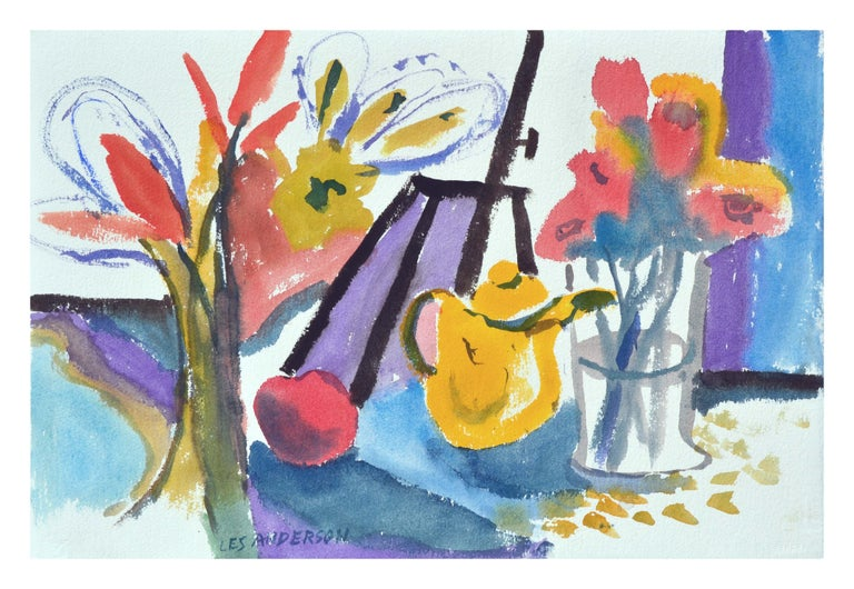 Teapot & Flowers Still-Life, Coastal Seascape Double-Sided Watercolor - Art by Les Anderson