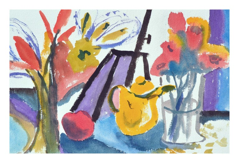 Teapot & Flowers Still-Life, Coastal Seascape Double-Sided Watercolor - American Impressionist Art by Les Anderson