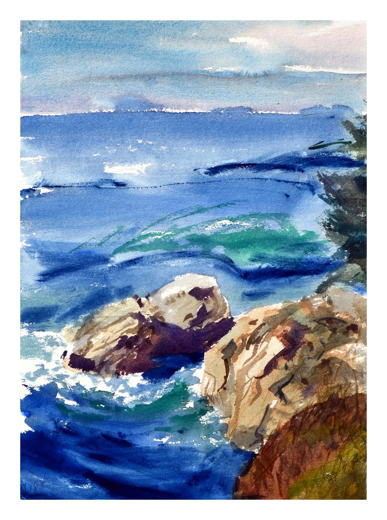 Teapot & Flowers Still-Life, Coastal Seascape Double-Sided Watercolor For Sale 4