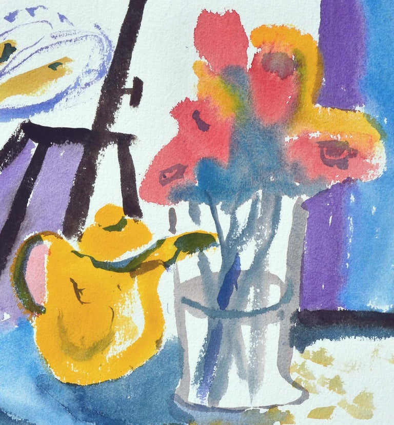 Teapot & Flowers Still-Life, Coastal Seascape Double-Sided Watercolor For Sale 1
