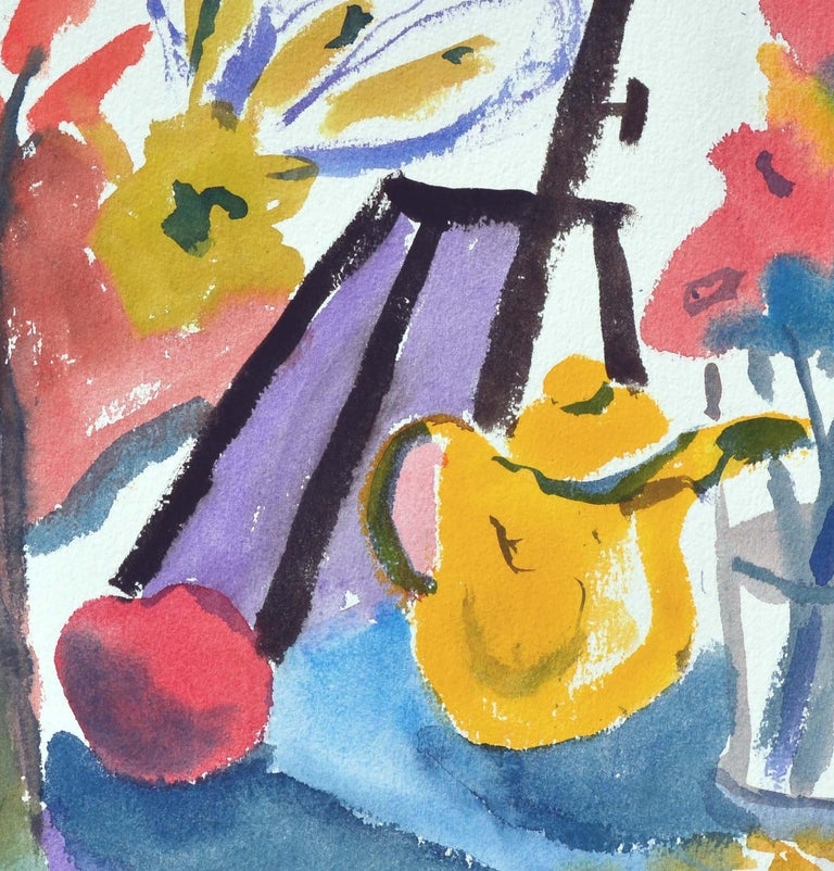 Two-sided watercolor with teapot-and-flower still life on one side and Carmel coast on the other by Les (Leslie Luverne) Anderson (American, 1928-2009). From the estate of Les Anderson in Monterey, California. Signed