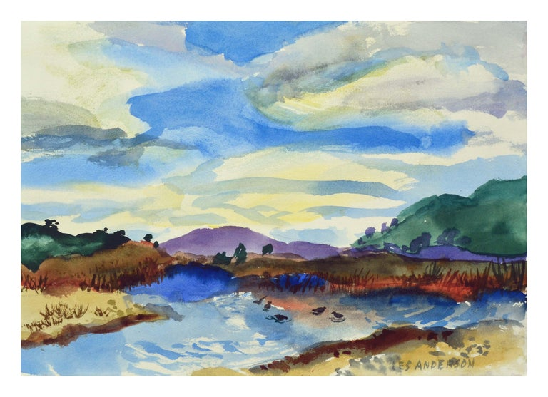 Duck Pond Landscape, California Seascape - Double Sided Watercolor - Art by Les Anderson