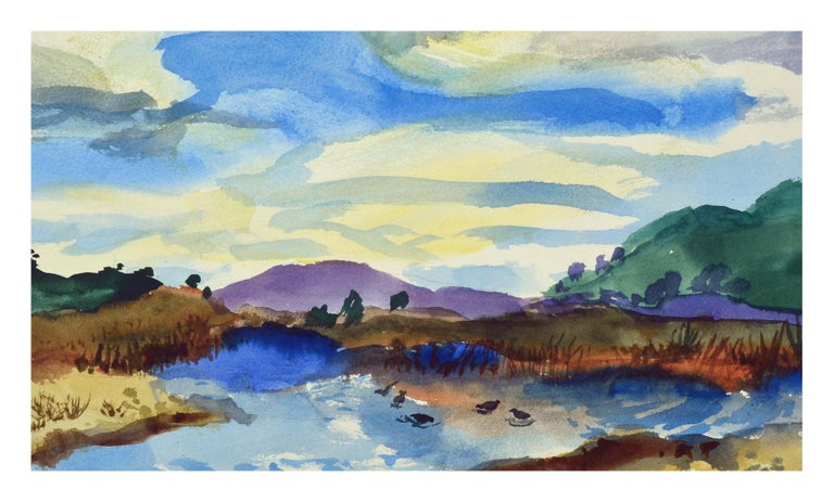 Duck Pond Landscape, California Seascape - Double Sided Watercolor - American Impressionist Art by Les Anderson