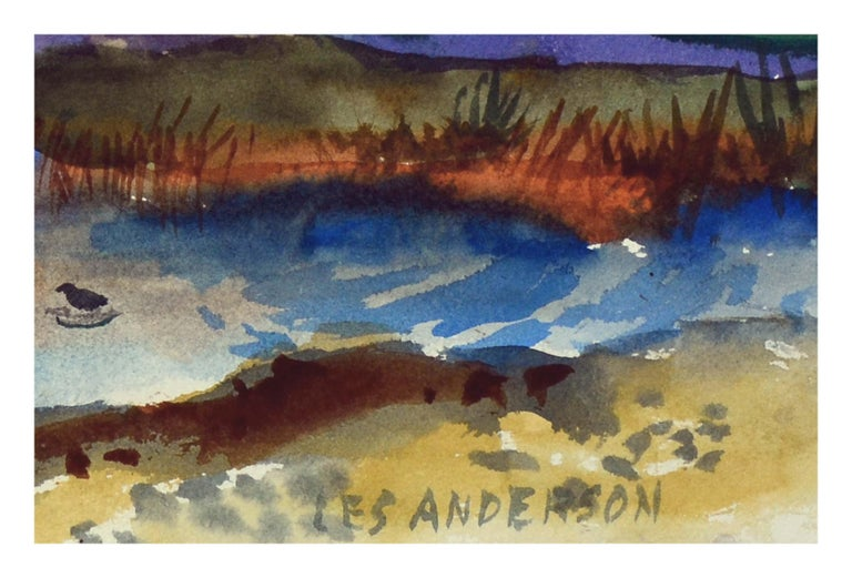 Two-sided watercolor of a colorful Duck pond landscape, and beautiful coastal seascape on verso by Les (Leslie Luverne) Anderson (American, 1928-2009). From the estate of Les Anderson in Monterey, California. Signed