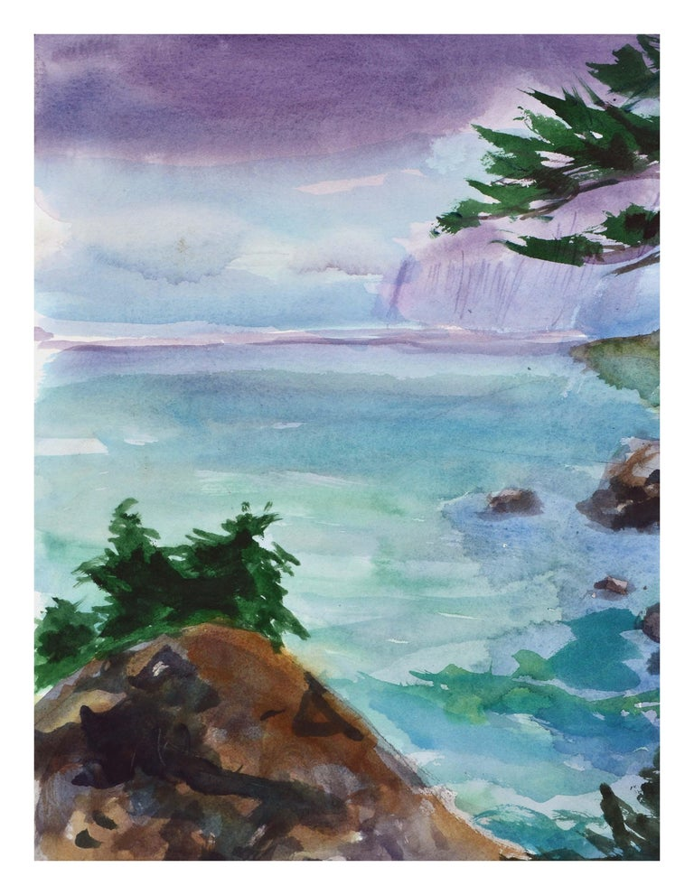 Duck Pond Landscape, California Seascape - Double Sided Watercolor For Sale 1