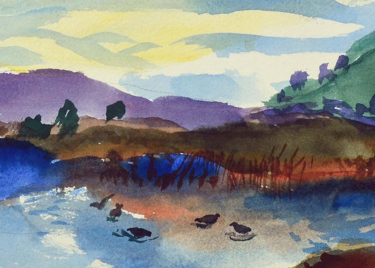 Duck Pond Landscape, California Seascape - Double Sided Watercolor - Gray Still-Life by Les Anderson