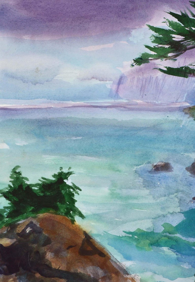 Duck Pond Landscape, California Seascape - Double Sided Watercolor For Sale 2