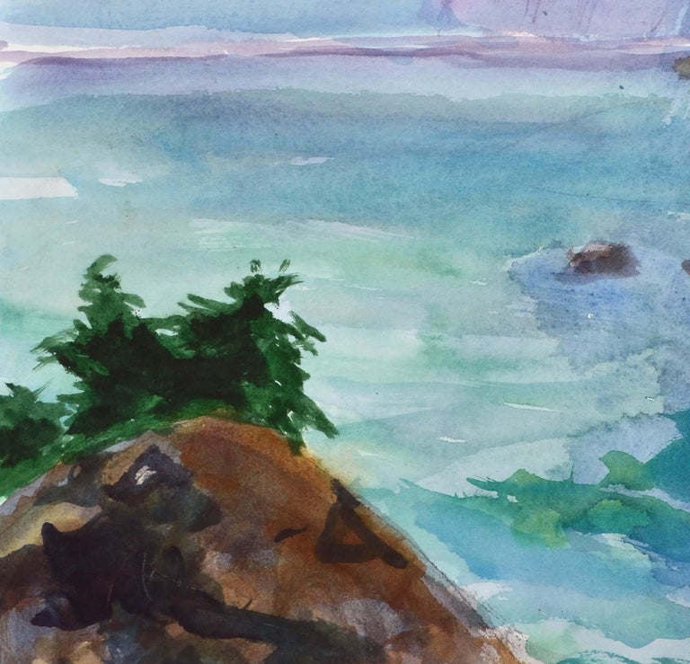Duck Pond Landscape, California Seascape - Double Sided Watercolor For Sale 3