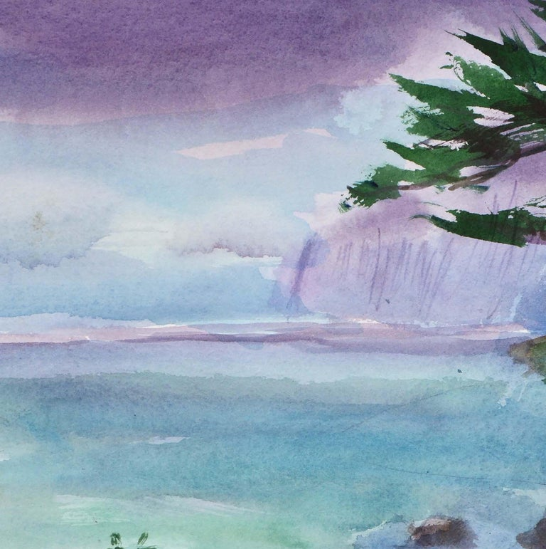 Duck Pond Landscape, California Seascape - Double Sided Watercolor For Sale 4