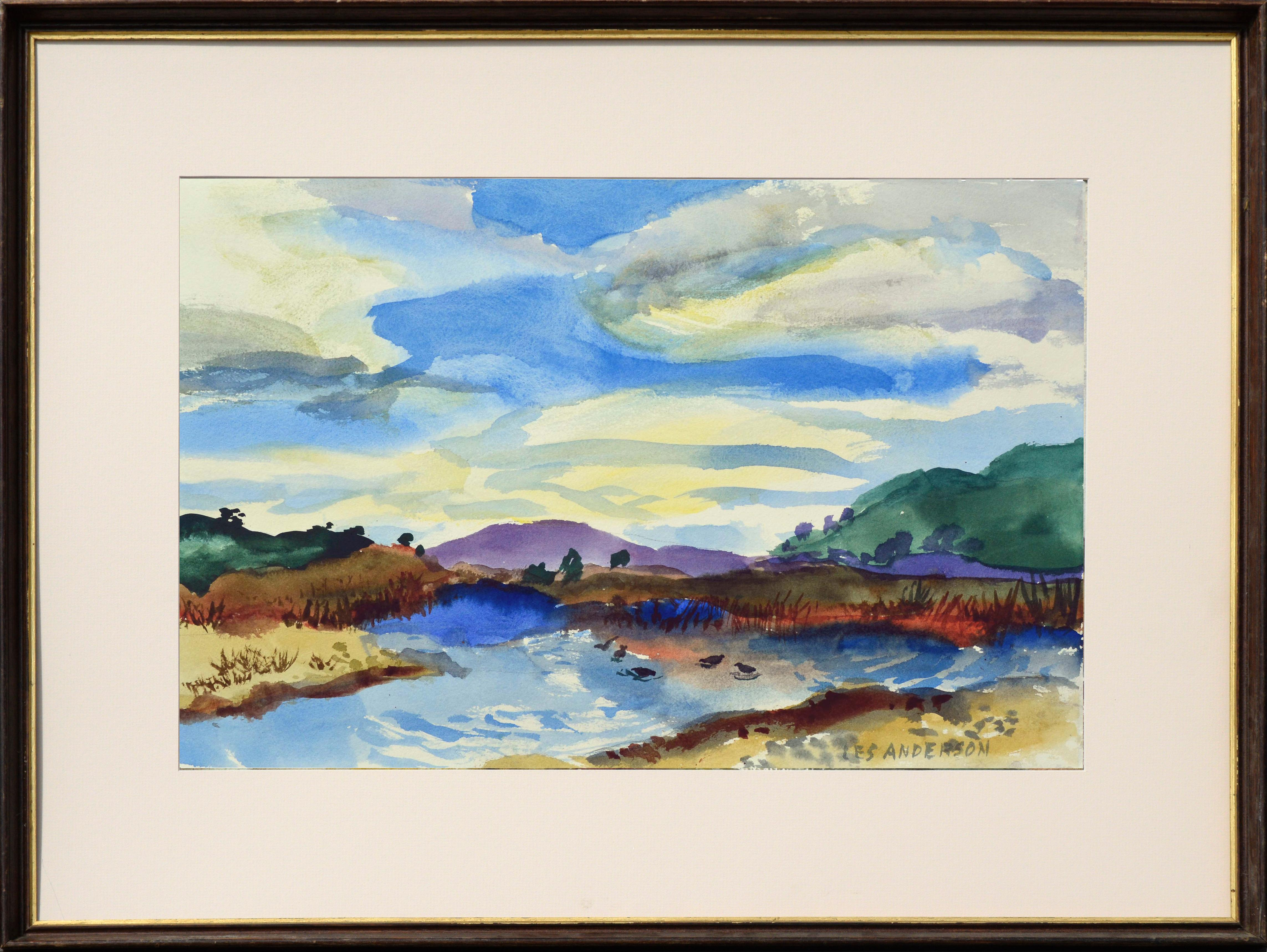 Duck Pond Landscape, California Seascape - Double Sided Watercolor