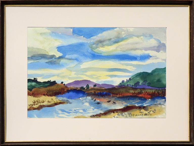 Les Anderson Still-Life - Duck Pond Landscape, California Seascape - Double Sided Watercolor
