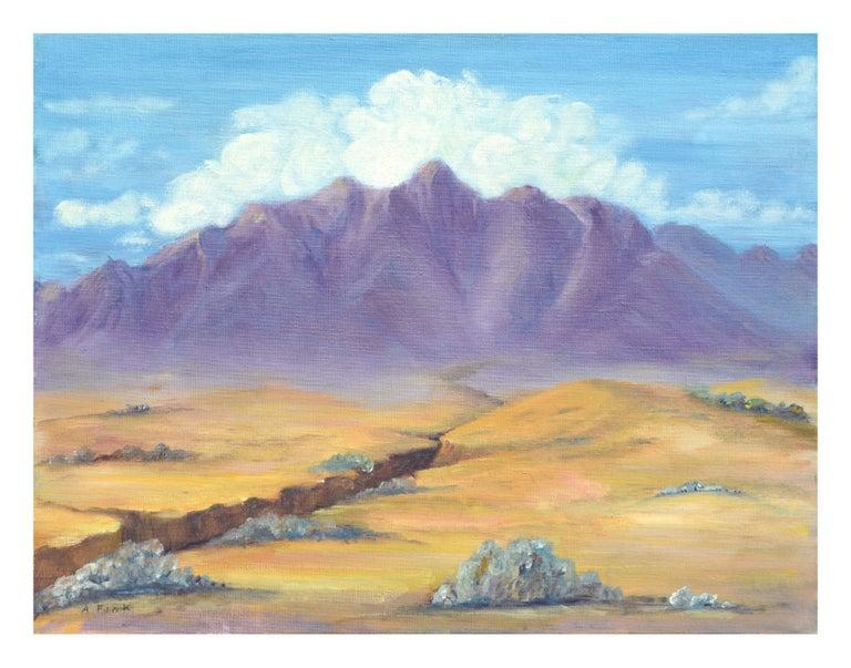 Alice M. Fink Landscape Painting - Purple Desert Mountain Landscape