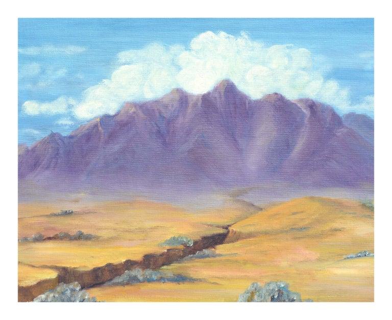 Purple Desert Mountain Landscape  - Painting by Alice M. Fink
