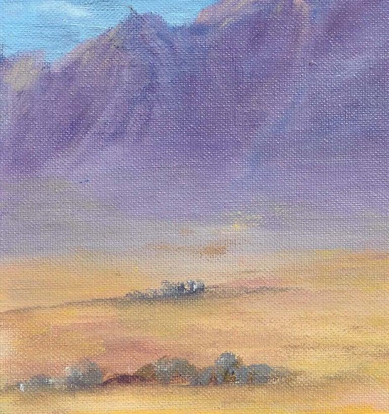 Purple Desert Mountain Landscape  - Gray Landscape Painting by Alice M. Fink