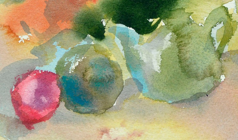Cheerful watercolor still-life of fruit and other objects on a table in a brightly colored interior with elements of abstracted shape and form by Les (Leslie Luverne) Anderson (American, 1928-2009). From the estate of Les Anderson in Monterey,